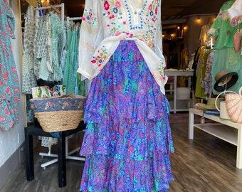 Layered silk printed skirt