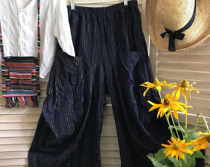 Size medium navy and metallic stripe lagenlook pant