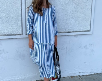Amazing funky lagenlook  dress with ruched back in beachy stripes cotton/linen