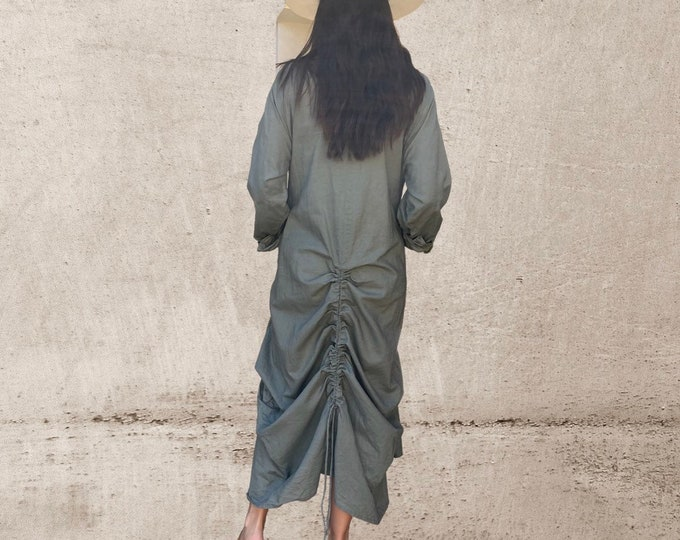 Amazing funky lagenlook  dress with ruched back in spicy sage green cotton/linen