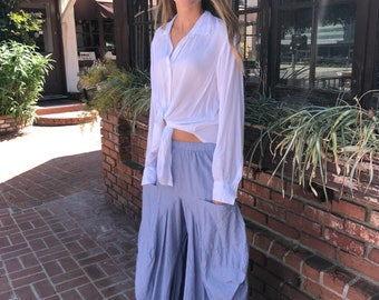 Lagenlook pinstripe palazzo pant in cotton