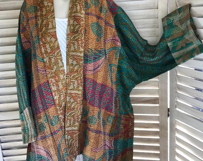 Plus size reversible silk kantha kimono in rustic seaglass colors