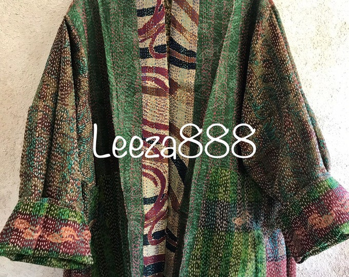 Plus size Napa Valley wine tasting reversible upcycled silk sari jacket with kantha stitch and pockets