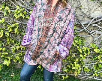 Lilac and Tamarind colours in this plus size reversible silk gorgeous jacket  stunning!