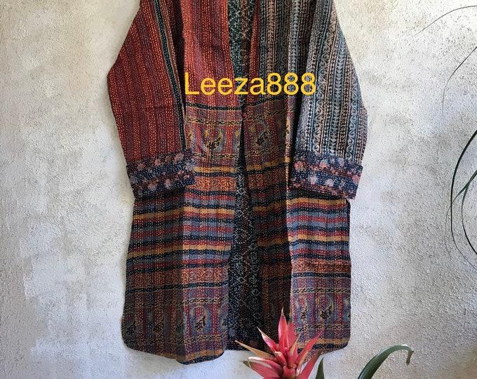 Santa Ynez wine tour one button reversible silk kantha jacket