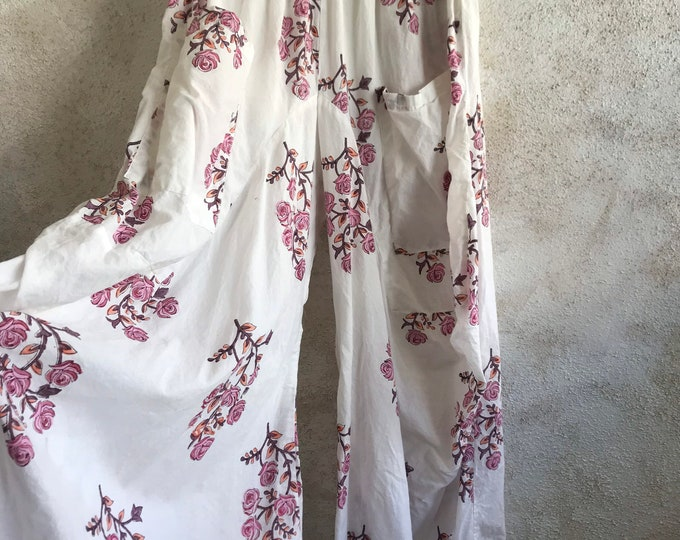Rose colored Floral super lightweight cotton voile lagenlook pant
