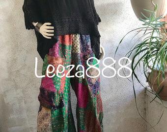 silk kantha funky lagenlook style pant in medium