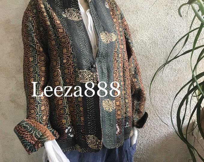 Asian flowers swirl mandarin style reversible kantha cropped jacket