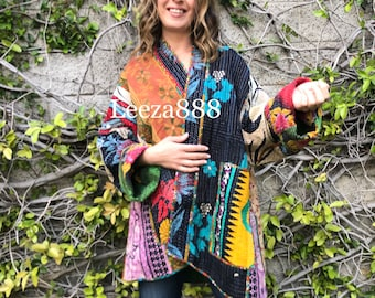 Frida inspired plus size reversible cotton kantha jacket made for an artist