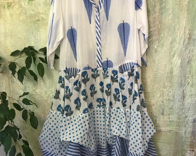 French blue Shirtwaist prairie dress mixed print hand  wood block print housedress