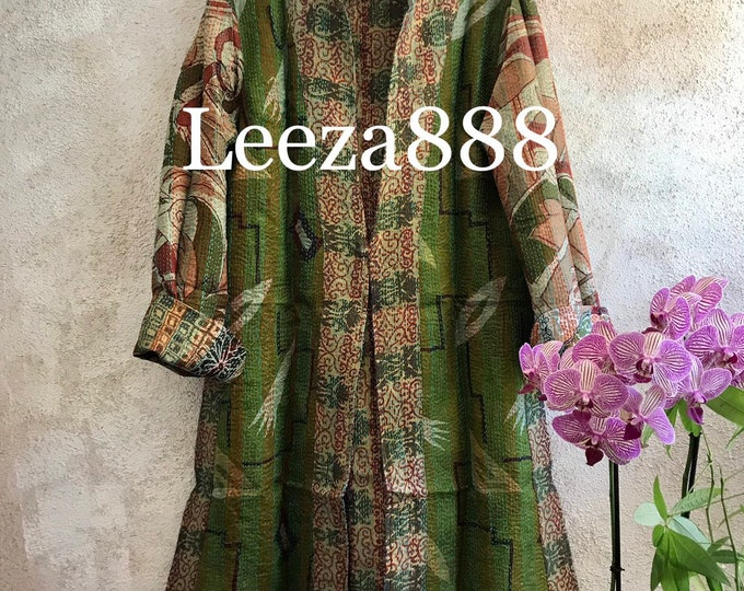 Magnolia green mid century style print colors combine in this fabulous artsy reversible longer silk kantha one button duster