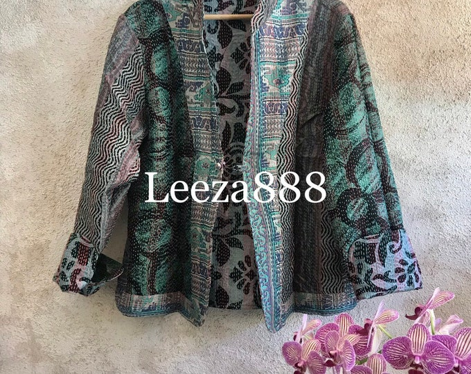 Watercolor print mandarin style reversible kantha cropped jacket