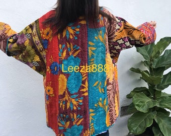 Mendocino weekend reversible plus size vintage kantha kimono jacket