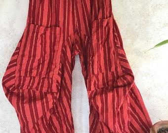 Cabernet stripes with gold lurex cotton lagenlook pant