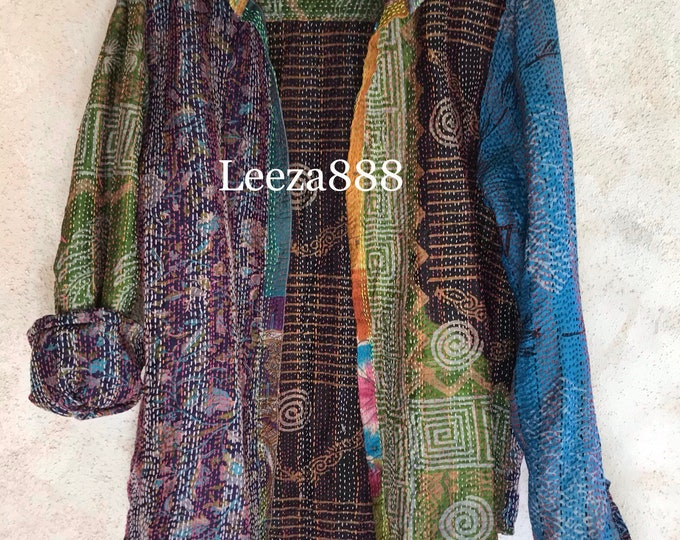 ARTISTS button down one of a kind reversible silk upcycled kantha shirt