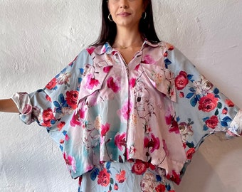 Silk floral boxy one size shirt with flap pockets