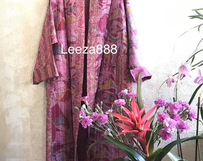 Parisian Pink plus size reversible silk kantha duster/kimono