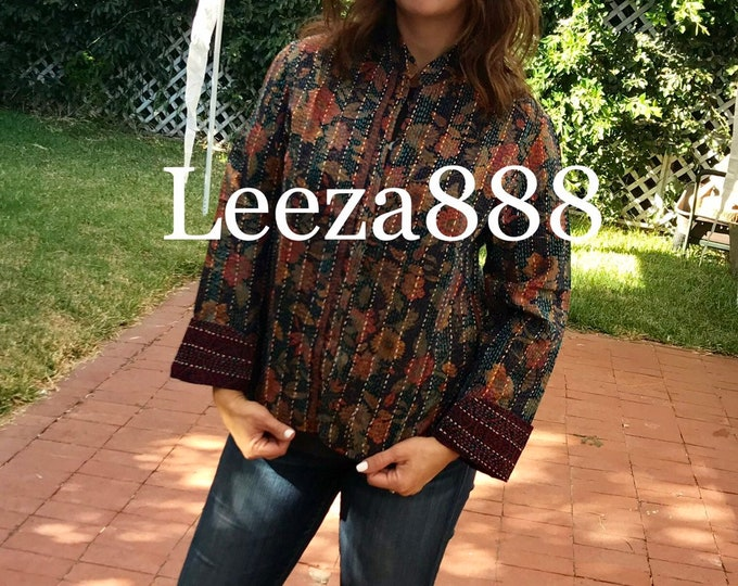 Fleur Silk floral mandarin style reversible kantha cropped jacket