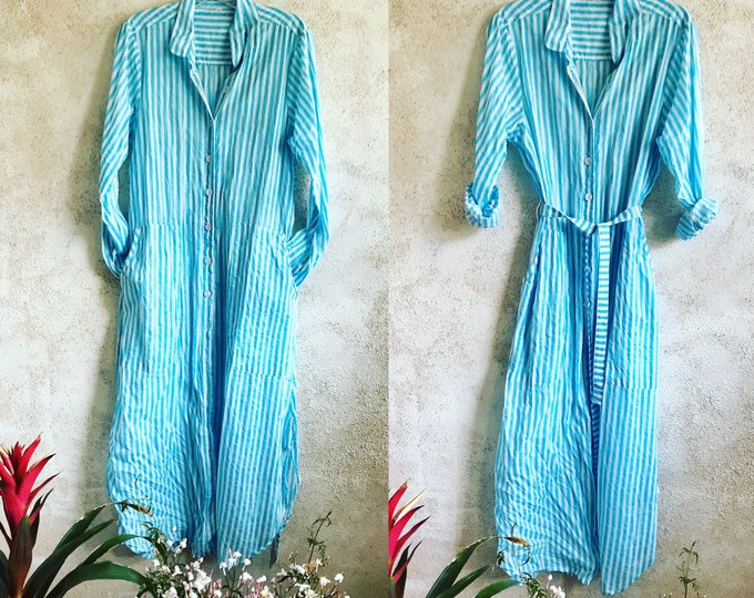 Turquoise block print stripe cotton voile button down shirtdress/duster