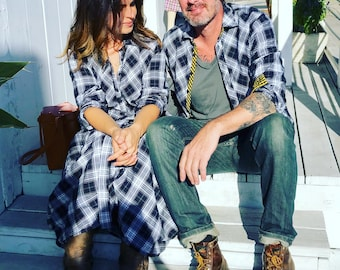 Plaid funky dress with sleeves  and huge pockets