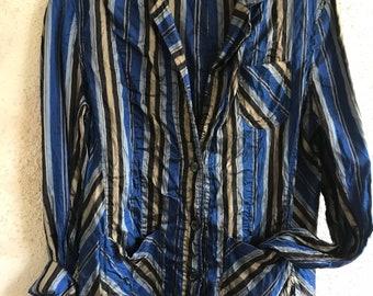 Washed silk dupioni little jacket in blue stripes
