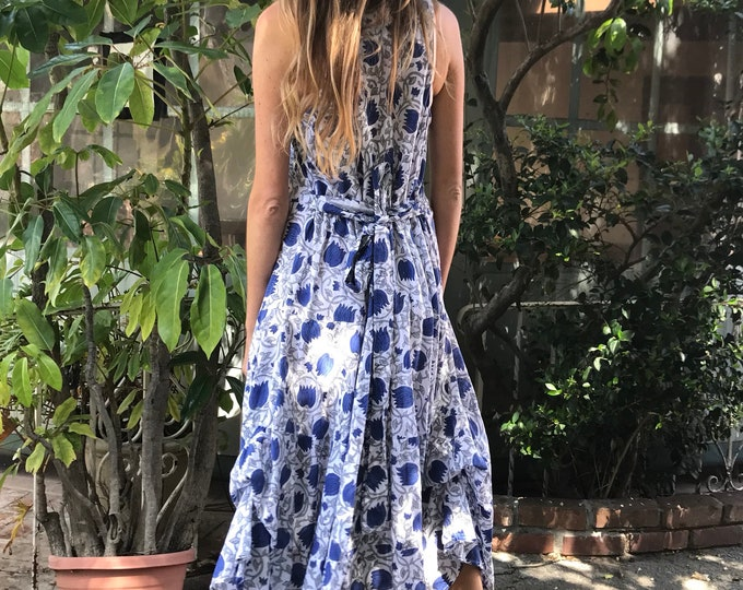 Blue tulip picnic dress with pockets