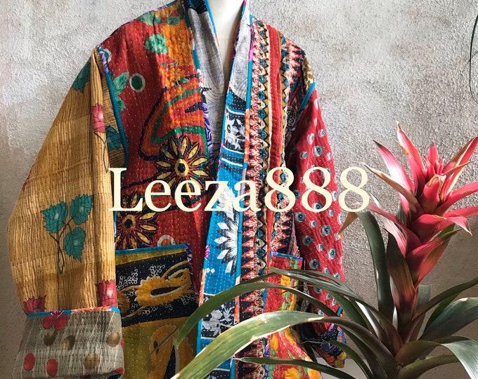 Vintage cowgirl reversible plus size vintage kantha kimono jacket