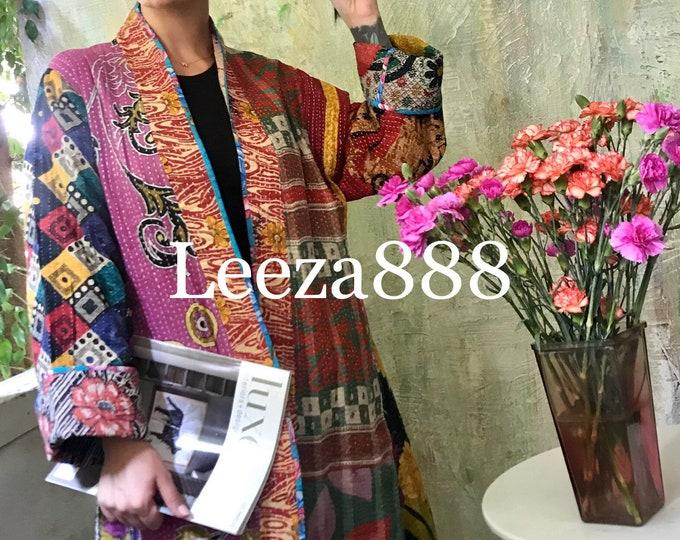 Color Explosion reversible cotton kantha coat