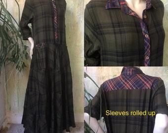 Shirtwaist prairie dress mixed print cotton flannel in dark moss green plaid