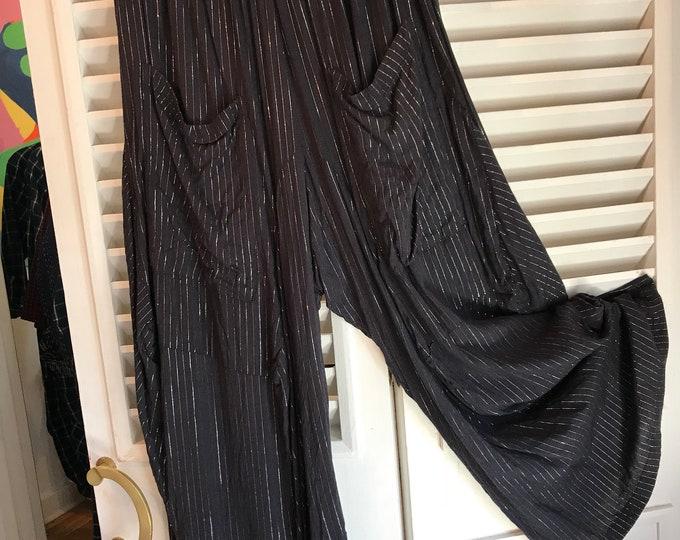 Extra large silver lurex stripe on black cotton lagenlook pant