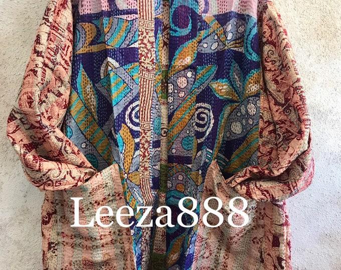 Matisse inspired Stunning Plus size silk kantha jacket/kimono reversible with pockets