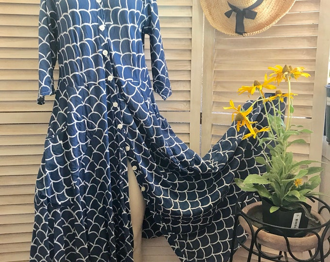 Cotton indigo blockprint long shirtdress/duster