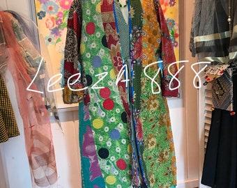 Artful reversible kimono in cotton pathwork quilt