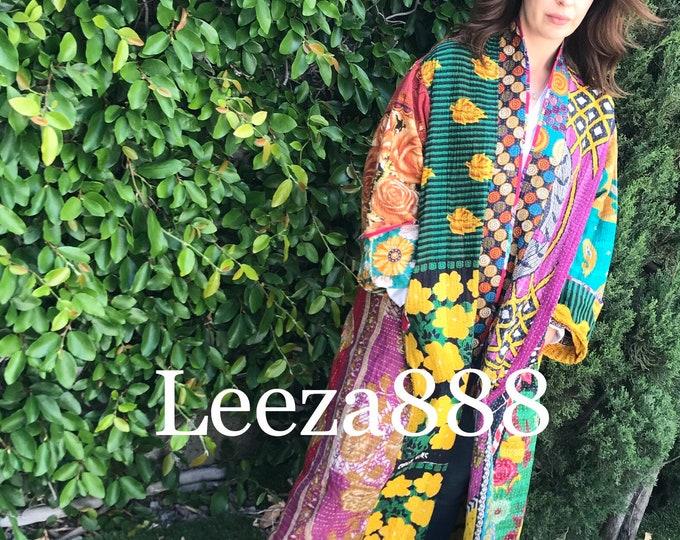 Goddess in the garden reversible plus size cotton kantha stunner