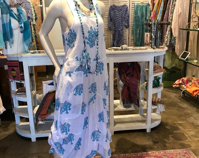 Elephant blockprint cotton voile lagenlook dress