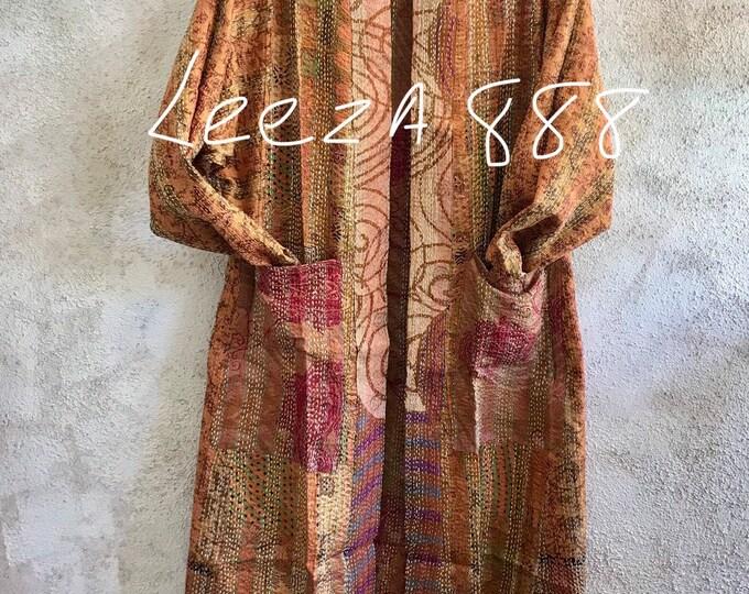 Cactus flower reversible vintage silk kantha kimono style coat