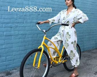 Floral block print cotton voile jumpsuit