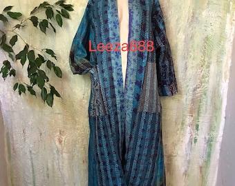 Aloha Maui plus size reversible silk kantha duster/kimono