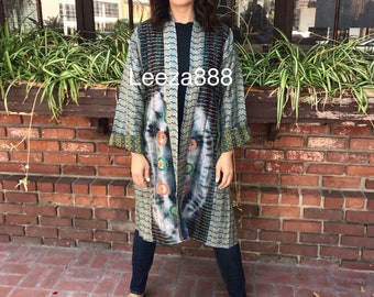 Malibu girl reversible silk kantha kimono
