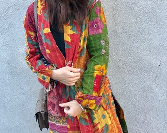 Cotton kantha quilt duster