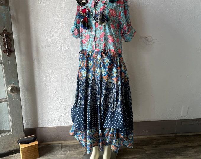 Shirtwaist prairie dress mixed print cotton voile in blues