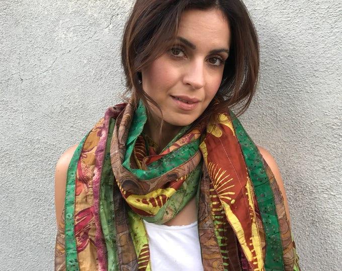 Up cycled silk sari scarf