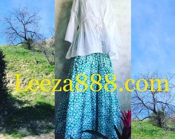 Prairie skirt in cotton voile block print