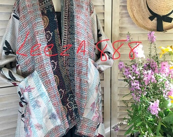 Plus size silk reversible holiday kimono/jacket