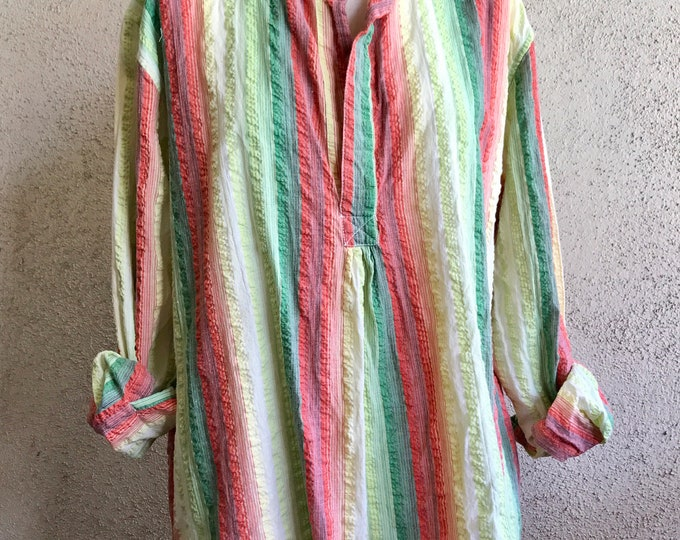 Seersucker cotton striped tunic