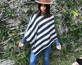 Bold striped wool poncho