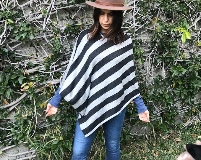 Bold striped wool poncho