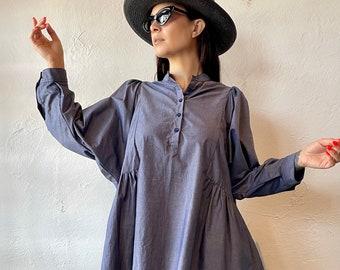 Felicity tunic in grey cotton poplin