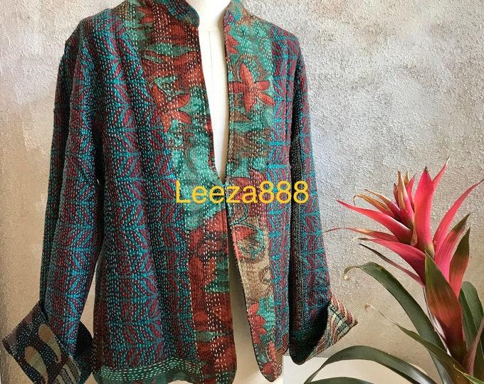 Jade and Turquoise mandarin style reversible kantha cropped jacket