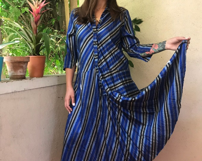 Washed dupioni silk striped housedress style